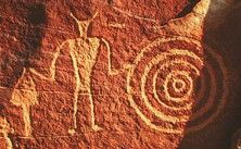 Petroglyph attributed to Classic Vernal Style, Fremont archaeological culture, eastern Utah, USA.