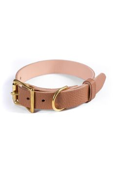 Light Brown Leather Dog Collar, Personalized Collar, FREE ID TAG, Solid Brass Hardware Free Id, Personalized Dog Collars, Leather Apron, Leather Dog Collars, Brass Buckle, Dog Gifts, Brown Leather, Brass Hardware, Handmade Leather