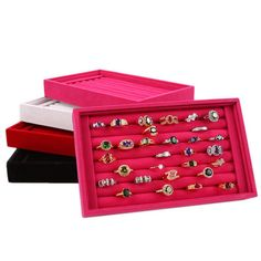 2016 New Fashion Jewelry Display Velvet Slots Earrings Rings Tray Organizer Storage Holder Case Box 4 Colors Free Shipping