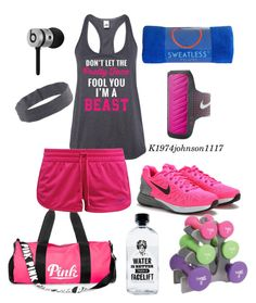 """Beast Mode"" by k1974johnson1117 ❤ liked on Polyvore featuring Victoria's Secret PINK, NIKE, Aquaovo, J.Crew and Beats by Dr. Dre"