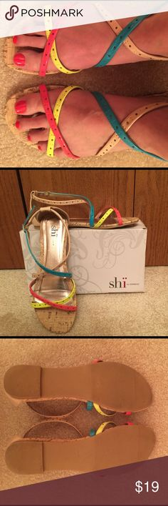 Shi by Journeys Round-toe, crisscross adjustable ankle-strap sandals. Nude, coral, bright yellow and teal with cork-like soles. Original box included. Only used a few times. EUC! Journeys Shoes Sandals