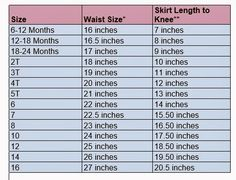 Measurements for Girls Skirts and Pants