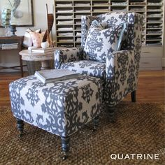We love this statement Modern Wingback chair with matching ottoman and pillow. Fabric featured: Monica/Ebony on Oatmeal (100% linen).