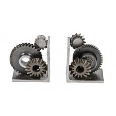 """matching set of repurposed american industrial """"machine age"""" solid steel welded joint gear and/or sprocket bookends"""