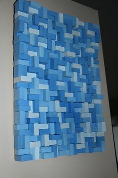 "Blue shades Modern Wall Art/Abstract Painting on Wood, Wood wall Art, wood mosaic, Reclaimed wood, geometric art ""The Sky"""