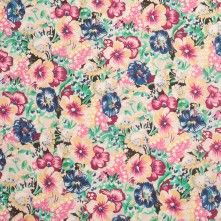 Pink/Blue Floral Printed Cotton Voile