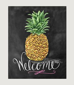 Pineapple Print - Pineapple Decor - Pineapple Welcome Sign- Chalkboard Art - Welcome Print - Chalk Art - Pineapple Illustration