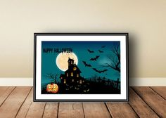 Halloween, Digital download, instant download, printable art, Happy Halloween, Halloween print, Jack O' Lantern, haunted house, pumpkins - pinned by pin4etsy.com