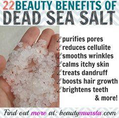 Find out 22 fabulous benefits of dead sea salt for skin, hair, nails & more! Dead sea salt contains Dead Sea Salt Scrub, Salt Face Scrub, Sea Salt Soap, Sea Salt Scrubs, Sugar Scrubs, Coconut Oil Body Scrub, Coconut Oil Hair Mask, Sea Salt Benefits, Sea Salt Hair