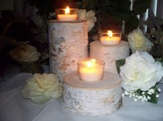 Birch wedding votive candle holders Rustic decor by Northwoodswood, $26.00