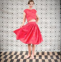 Twirling in red. More peeks into the noon collection for Africa. #ecru #new #collection #red #twopiece #birds #skirt #top #jaipur #india #fabric #handprint #blockprint