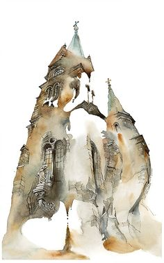 With fluid washes of watercolor, Sunga Park lends gentle fluidity to stony architecture. Her paintings convey gracefully blurred renditions of landmar Watercolor Architecture, Watercolor Landscape, Art And Architecture, Architecture Details, Watercolor Artwork, Watercolor And Ink, Art Aquarelle, A Level Art, Urban Sketching