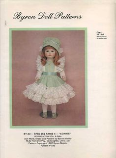 """Byron Doll Pattern 1980's 23 Paris II Connie Fits 22"""" Old Store Stock Like New Sewing Pattern by LanetzLivingPatterns on Etsy"""