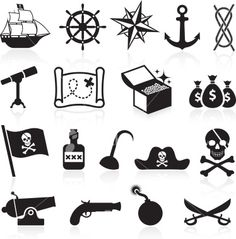 Pirate black and white icon set Royalty Free Stock Vector Art Illustration