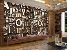 Europeu art 3D estereoscópico wallpaper sofá mural bar KTV TV papel parede alfabética em Papéis de parede de Melhoramento Da casa no AliExpress.com   Alibaba Group