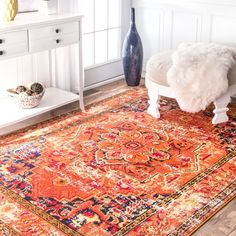 The Curated Nomad Traditional Flower Medallion Orange Area Rug - x Orange Rugs, Orange Area Rug, Home Decor Outlet, Cheap Home Decor, Home Interior, Interior Design, Apartment Interior, Studio Apartment, Area Rugs For Sale