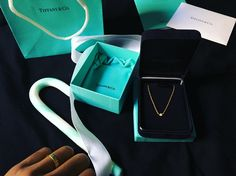 elsa peretti diamonds by the yard 18k gold necklace Tiffany & Co; with Cartier Love ring. My first Tiffany diamond 💎  #diamondsbytheyard #elsaperetti #tiffanyandco #dbty #bluebox