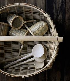 Japanese bamboo basket with cherry wood skin