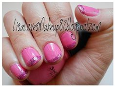 Pink & Purple Glitter French Tip | LisaLovesMakeup87