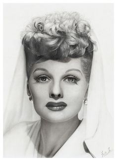 Portrait of Ms. Lucille Ball - Charcoal and Graphite Pencil Drawing by Faith Te - Portraits and Pencil Drawings, via Flickr