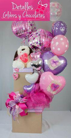 Detalles Globos y Chocolates Kinder Valentines, Valentines Diy, Valentine Day Gifts, Candy Bouquet, Balloon Bouquet, Diy Party Decorations, Balloon Decorations, Ballon Arrangement, Best Gift Baskets