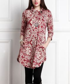 Another great find on #zulily! Burgundy Floral Shawl-Collar Pocket Tunic Dress - Plus #zulilyfinds