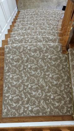 Stanton Atelier Collection DaVinci In Belgian Beige   Custom Stair Runner  #traditional #floral #
