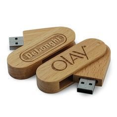 "Lovely example of a laser engraved wooded USB memory stick - this particular model ""twists"" out so there is no cap to worry about or lose"