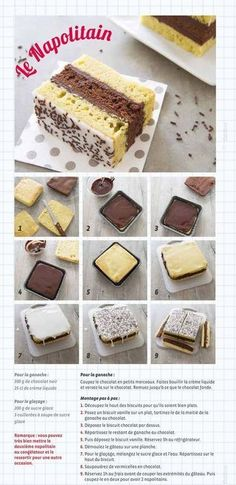 [ Napolitain maison Homemade Neapolitan recipe for children's snacks – step-by-step photo technique Sweet Recipes, Cake Recipes, Dessert Recipes, Food Cakes, Technique Photo, Kids Meals, Food And Drink, Cooking Recipes, Healthy Snack Recipes