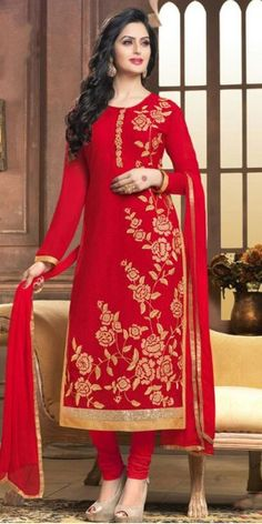 Exotic Red Georgette Straight Suit With Dupatta.