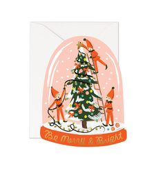 These quirky little elves are decorating a tree inside this colorful snow globe. Gold foil wishes across the bottom make this note perfect for all your holiday cards. This die cut flat note is illustr