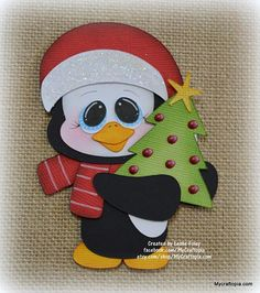 Items similar to Penguin Tree Christmas Premade Scrapbooking Embellishment Paper Piecing on Etsy Elf Christmas Decorations, Christmas Yard Art, Christmas Wood Crafts, Christmas Drawing, Homemade Christmas Gifts, Christmas Paintings, Christmas Animals, Christmas Design, Christmas Elf