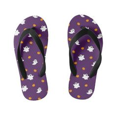 Cute Halloween Pattern with Purple Background Kid's Flip Flops Girls Flip Flops, Halloween Patterns, Purple Backgrounds, Cute Halloween, Shoes Sandals, Slip On, Kids, Unique, Style