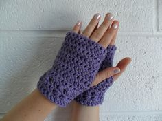 Kylie Wristlets in Lavender - Hand Wrist Warmers Fingerless Gloves Gauntlets Mittens - Ready to Ship - FREE US Shipping by LilacsLovables, $15.00