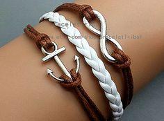 Anchor Bracelet Infinity Bracelet Brown Rope by BraceletTribal, $2.99 Fashion handmade leather bracelet