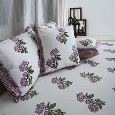 Bed Covers, Pillow Covers, Linen Bedding, Bed Linens, Bed Pillows, Cushions, Purple Suits, Mirror Work, Green Cotton