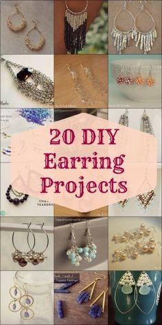 20 DIY Earring Projects #DIY #earrings #jewelrymaking