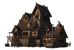 A medieval house, Whihoon Lee (whinbek) on ArtStation at https://www.artstation.com/artwork/a-medieval-house