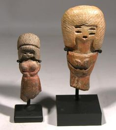 """Valdivia Venus Figures — Ecuador 3000 BC - 2500 BC Valdivia pottery """"Venus"""" figures from Ecuador. Rare and very early artifacts; Valdivia is among the earliest known cultures to create art in the Americas."""