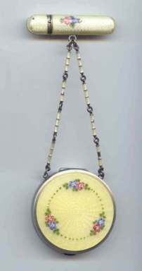 Vintage Sterling Silver Yellow Guilloche Enamel Tango with Flower Design can be put on a Chatelaine