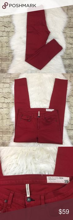 Rag & Bone Skinny Zipper Jeans Red skinny jeans with ankle zipper (hidden), in good preowned condition very slight fading. They're special for Nordstrom rag & bone Jeans Skinny