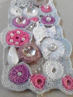 Fairy bubble white pink silver crochet bracelet by DesignAnna, £23.20