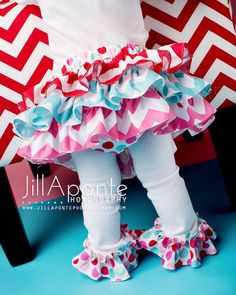 Red pink and aqua chevron and polka dot Valentine all around ruffle bloomers diaper cover skirt tutu for baby newborn infant toddle