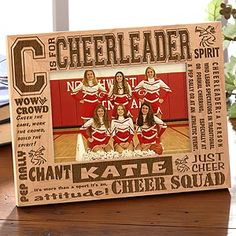 Personalized Cheerleader Picture Frame - 4x6 Photo - 2425 Cheer Sister Gifts, Cheer Gifts, Cheer Mom, Team Cheer, Cheer Stuff, Camp Gifts, Fun Gifts, Fun Stuff, Cheerleading Cheers
