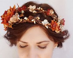 fall wedding headpiece, rustic flower crown, autumn bridal hair accessory, orange floral hairpiece - HARVEST - rust, cream flower, woodland
