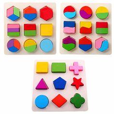 Wooden Toys Montessori Color Math Shapes Geometric Puzzles | julesandco.net