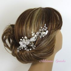 Crystal Bridal Comb LILLY Hair comb Bridal by adrianasparksacc, $54.00