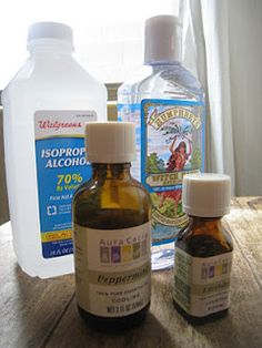 -1/4 cup 70% Isopropyl Alcohol  -1/4 cup witch hazel  -3 drops peppermint essential oil  -3 drops lavender essential oil  Directions: Combine all ingredients in a spray bottle. Shake to mix. Store in refrigerator to keep cool.