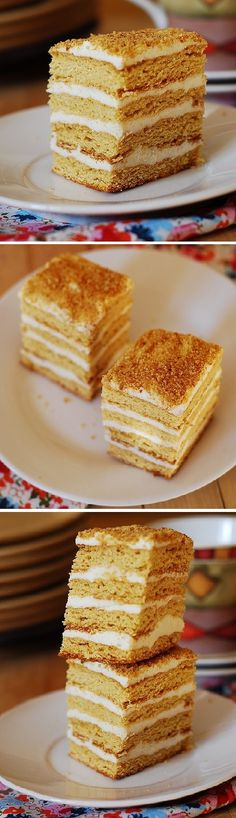 Classic Russian Honey cake with a cooked flour frosting (tort medovik, pchelka s zavarnim kremom)