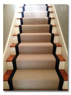 Wool stair runners bound in black cotton!